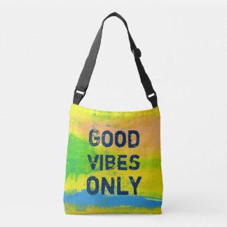 Good Vibes Ony - Blue Yellow Abstract Art Crossbody Bag