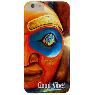 """Good Vibes"" Quote, Cute Fun Wood Totem Face Photo Barely There iPhone 6 Plus Case"