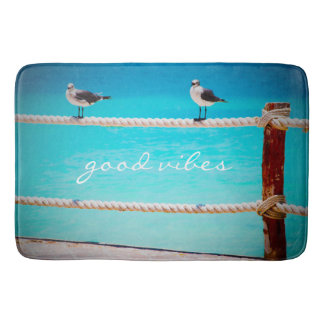 """""""Good Vibes"""" Quote White Seagull Beach Birds Photo Bath Mat"""