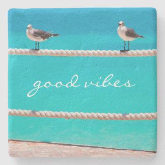 """""""Good Vibes"""" Quote White Seagull Beach Birds Photo Stone Coaster"""