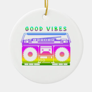 Good Vibes Retro Stereo Ceramic Ornament