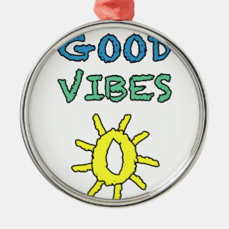 Good Vibes South West Sun Round Metal Christmas Ornament