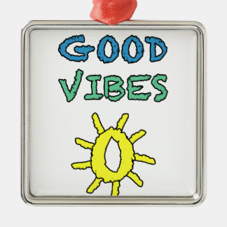 Good Vibes South West Sun Square Metal Christmas Ornament