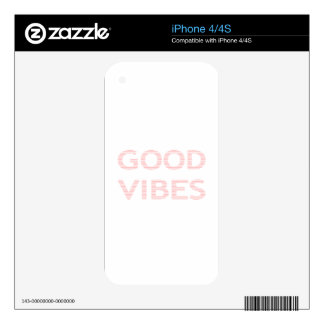 GOOD VIBES - strips - pink  and white. Skins For The iPhone 4
