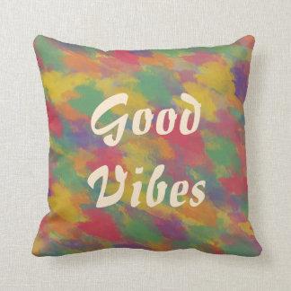 good vibes text vintage boho colorful brushstrokes throw pillow