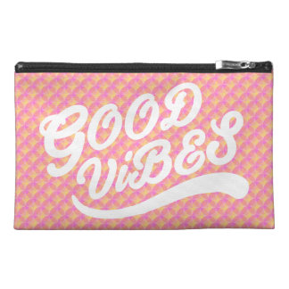 Good Vibes Typography Customizable Circle Pattern Travel Accessory Bag