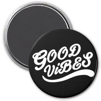 Good Vibes Uplifting New Age Design Black & White 3 Inch Round Magnet