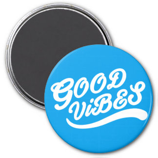 Good Vibes Uplifting New Age Design White & Blue 3 Inch Round Magnet