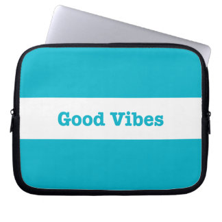 Good Vibes White Band Stripe (Choose Your Color) Laptop Computer Sleeve