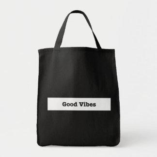 Good Vibes White Band Stripe Inspirational Logo Tote Bag
