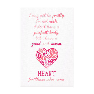 Good warm heart quote pink tribal tattoo girly canvas print