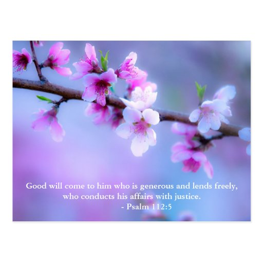 Good will come to him who is generous and lends fr post card