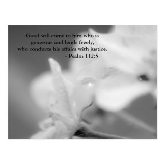 Good will come to him who is generous and lends fr postcard
