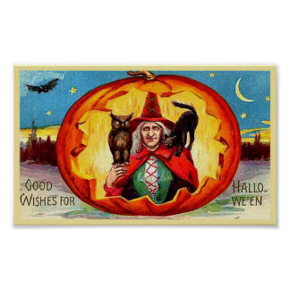 Good Wishes for Halloween, Owl, Witch, Cat, Bat Poster
