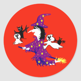 Good witch and her friends classic round sticker
