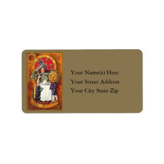 Good Witch and Pumpkin Head Vintage Address Label