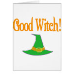 Good Witch! Green Hat Halloween Design Greeting Card