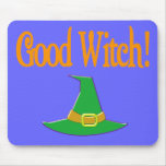 Good Witch! Green Hat Halloween Design Mouse Pad