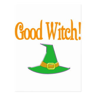 Good Witch! Green Hat Halloween Design Postcard
