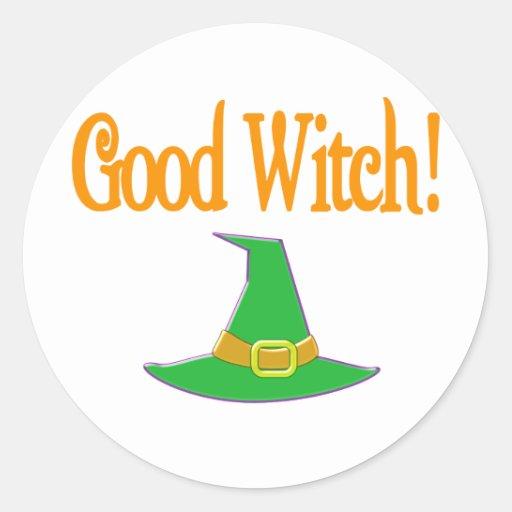 Good Witch! Green Hat Halloween Design Stickers