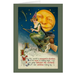 Good Witch Riding By - Halloween Card