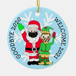 Goodbye 2020, Welcome 2021 Santa Elf Facemask Ceramic Ornament