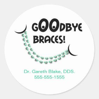 Goodbye Braces Green Orthodontist Patient Custom Classic Round Sticker