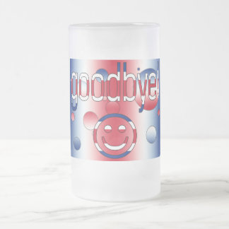 Goodbye! Britain Flag Colors Pop Art Frosted Glass Beer Mug