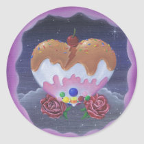 sugar, fueled, michael, banks, heart, candy, sweets, lowbrow, creepy, cute, pop, surrealism, roses, adorable, cuddly, Sticker with custom graphic design