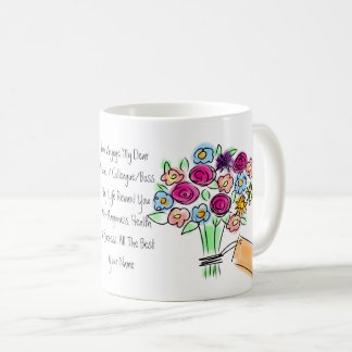 Goodbye Gift Personalized Flowers Woman Coffee Mug