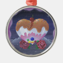 sugar, fueled, michael, banks, heart, candy, sweets, lowbrow, creepy, cute, pop, surrealism, roses, adorable, cuddly, Ornament with custom graphic design