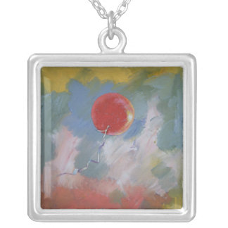 Goodbye Red Balloon Square Pendant Necklace