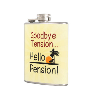 Goodbye Tension, Hello Pension Funny Retirement Hip Flask