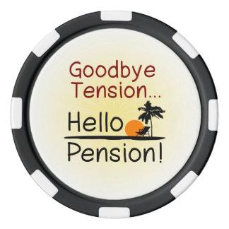 Goodbye Tension, Hello Pension Funny Retirement Poker Chip Set