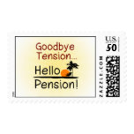 Goodbye Tension, Hello Pension Funny Retirement Postage