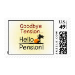 Goodbye Tension, Hello Pension Funny Retirement Stamp
