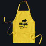 """Goodbye tension hello pension retirement BBQ apron<br><div class=""""desc"""">Retirement BBQ apron with funny quote. Goodbye tension hello pension. Funny slogan for retiring colleague,  employee,  coworker,  husband etc. Cute party gift idea for retired men and women. Kitchen / barbecue aprons in beige,  white and yellow. Office humor / job work related joke. Tropical Palm tree logo design.</div>"""