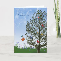 Goodbye with birds in tree card