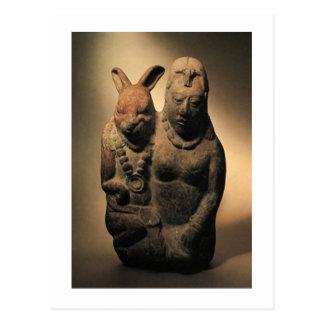 Goodess maya Ixchel y su compañero del conejo Tarjeta Postal