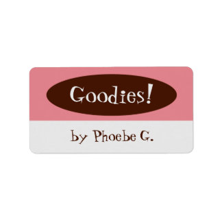 Goodies Pink and Brown Kitchen Labels