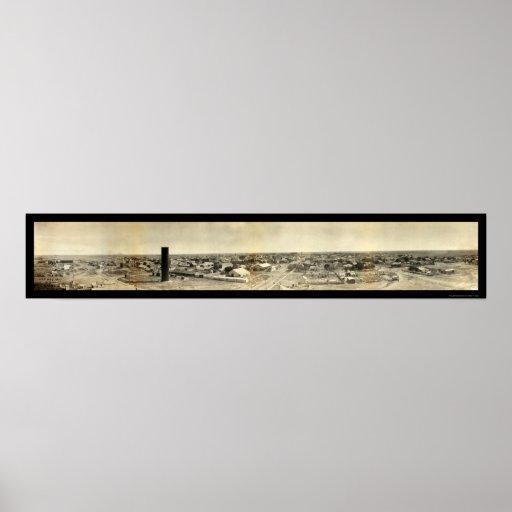 Goodland, foto panorámica 1907 de Kansas Póster