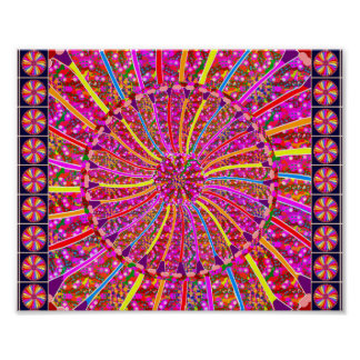 Goodluck Color Wheel Flower Pattern Poster