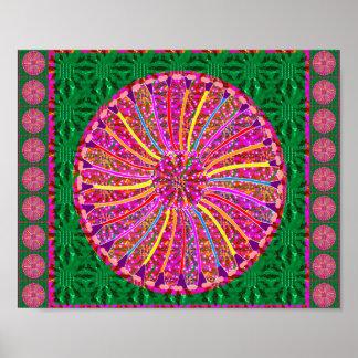 Goodluck Color Wheel Flower Pattern Poster