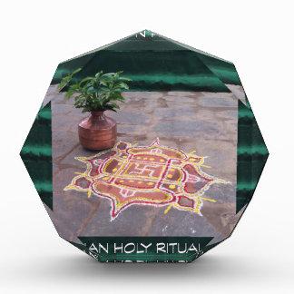 Goodluck Copper Vessel Rangoli Swistika Religious Acrylic Award