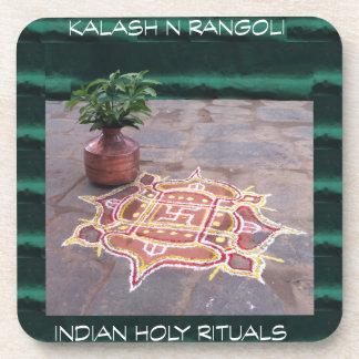 Goodluck Copper Vessel Rangoli Swistika Religious Beverage Coaster