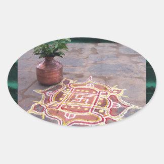 Goodluck Copper Vessel Rangoli Swistika Religious Oval Sticker