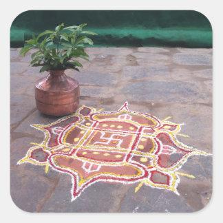 Goodluck Copper Vessel Rangoli Swistika Religious Square Sticker