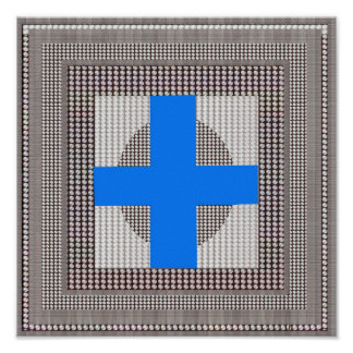 Goodluck Graphics Beads Sparkle Blue Cross fun Poster