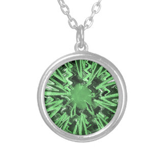 Goodluck Green Sparkle star modern abstract art Silver Plated Necklace