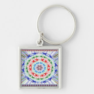 Goodluck Round Chakra Healing Art Silver-Colored Square Keychain